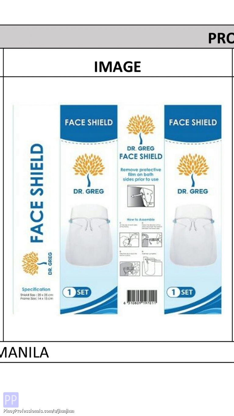 Health and Beauty - FACE SHIELD FOR SALE