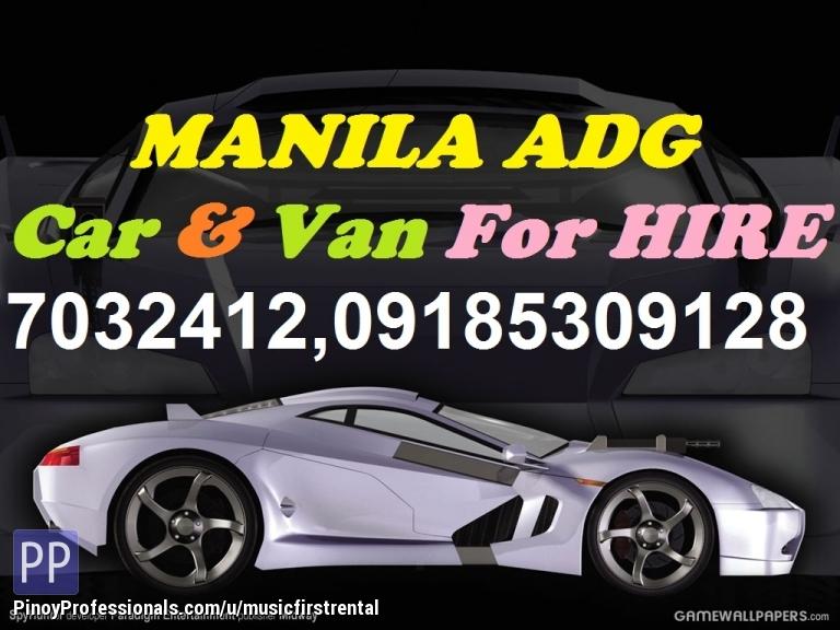 Transportation Services - Car/Van Rentals Manila.ADG Auto hire w/Driver.Tel.(+632)7032412, 7147643,+639185309128,+639333623047