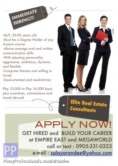 Retail and Business Development - HIRING FOR ELITE REAL ESTATE CONSULTANTS. 14K BASIC PLUS COMMISSIONS AND INCENTIVES