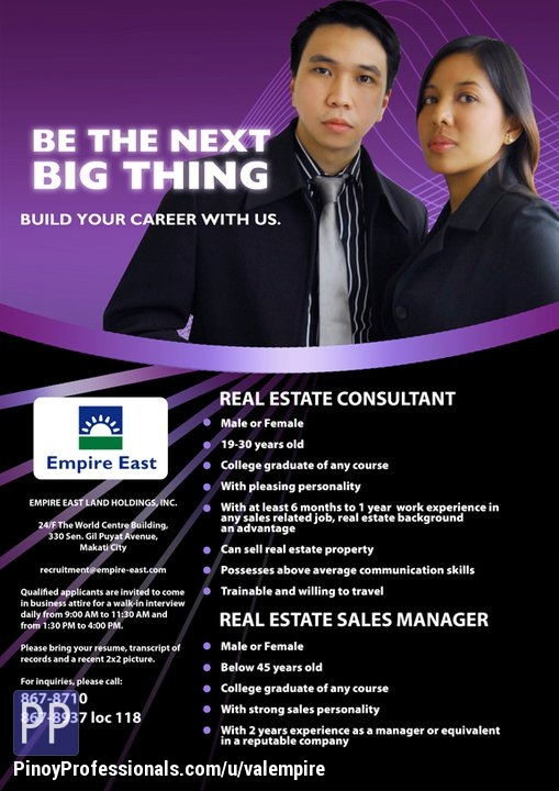 Banking and Real Estate - HIRING! REAL ESTATE CONSULTANT. APPLY NOW AND GET HIRED ASAP!