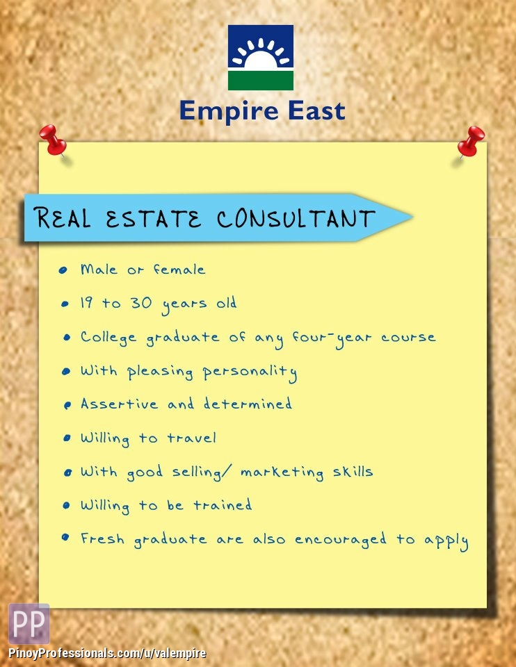 Banking and Real Estate - HIRING: REAL ESTATE CONSULTANTS. APPLY NOW AND GET HIRED ASAP!