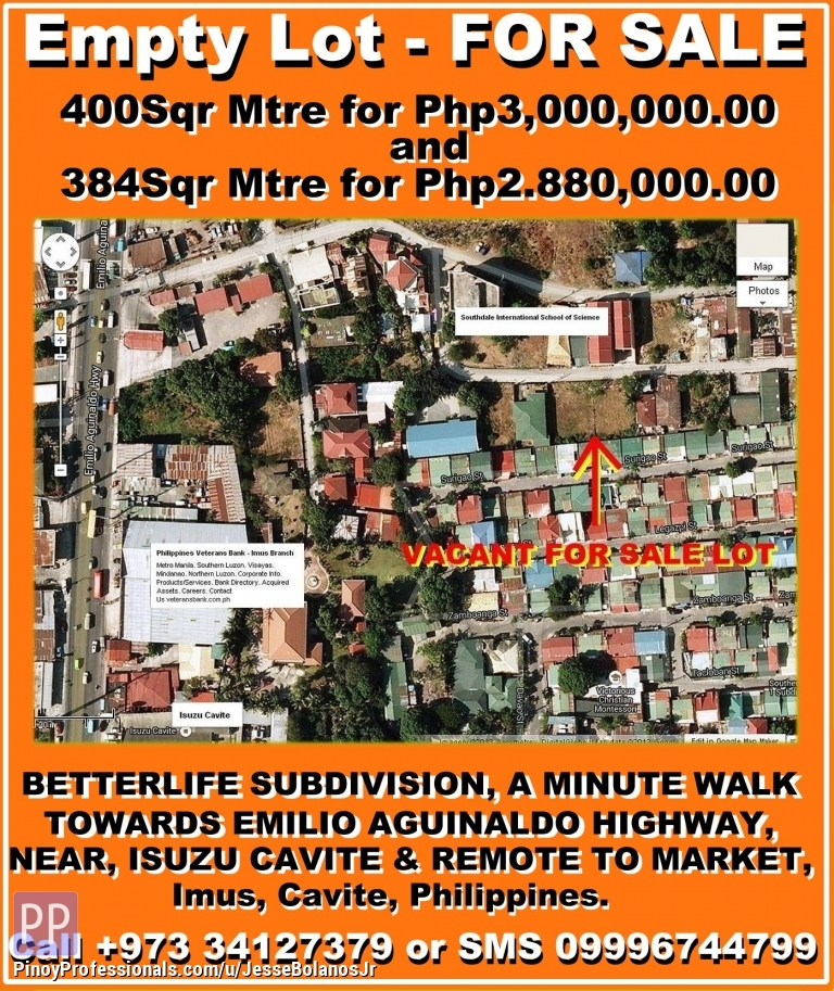 Land for Sale - Empty Lot For Sale In Imus, Cavite, Philippines