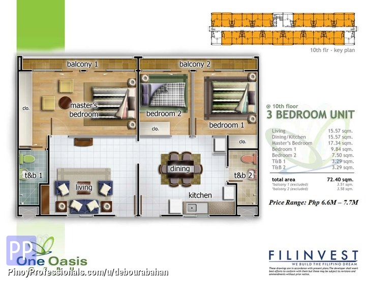 Land for Sale - 3-Bedroom Unit Ready for Occupancy at One Oasis Cebu, Cebu City