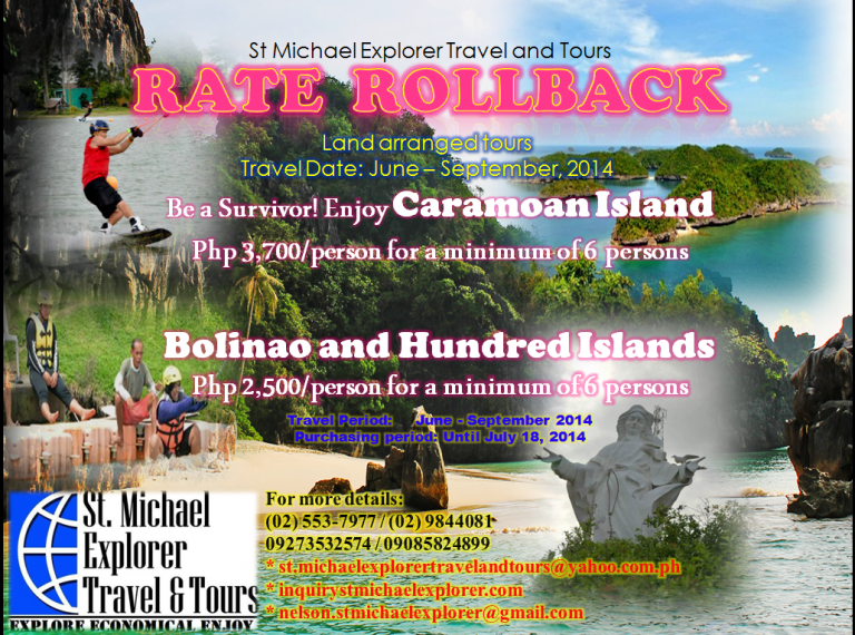 Vacation Packages - RATES ROLL BACK PROMO for CARAMOAN and BOLINAO/HUNDRED ISLAN