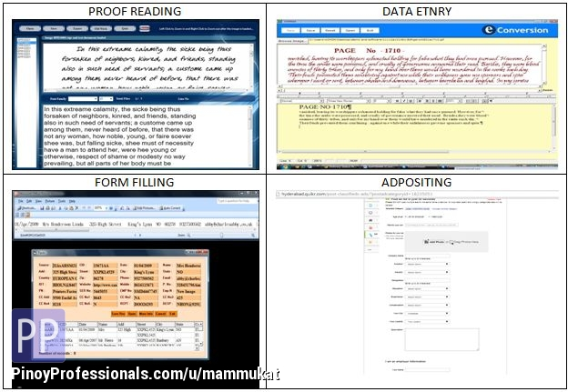 Work from Home - Single: data entry, from filling, ad post, bulk: Proof Reading, Form Filling, Tech support.