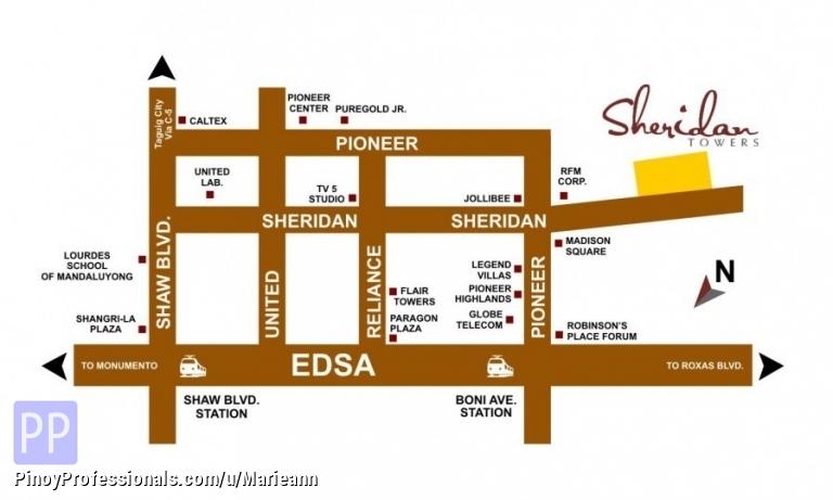 Sheridan Towers Condo In Mandaluyong Near Robinson Pioneer Boni - Mandaluyong map
