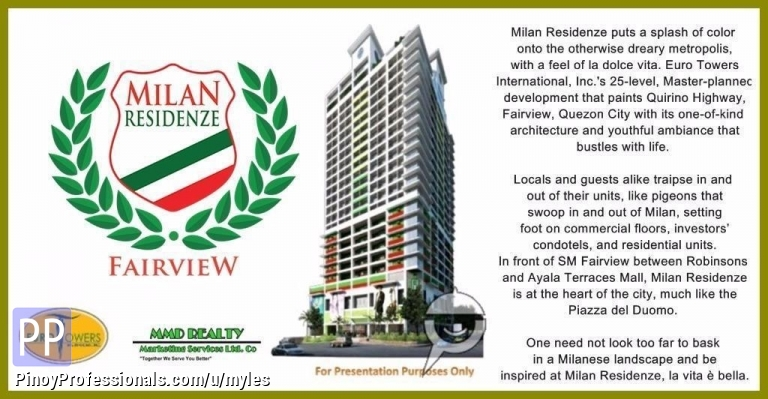 House for Sale - For Sale Studio Type Condo here at Milan Residenze Maligaya Park Quezon City