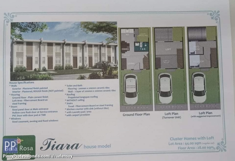 House for Sale - bella rosa lofted unit in santo mtomas batangas