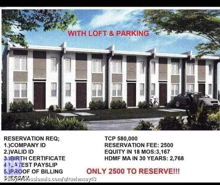 House for Sale - lofted townhouse in santo tomas batangas