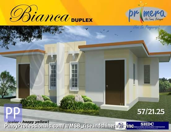 House for Sale - On Going Units - Bianca Model Duplex For Sale thru Pag-Ibig at Primera Homes in Santo Tomas Batangas