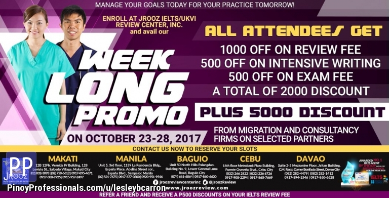 Courses and Seminars - JROOZ IELTS Week Long Promo October 23-28, 2017