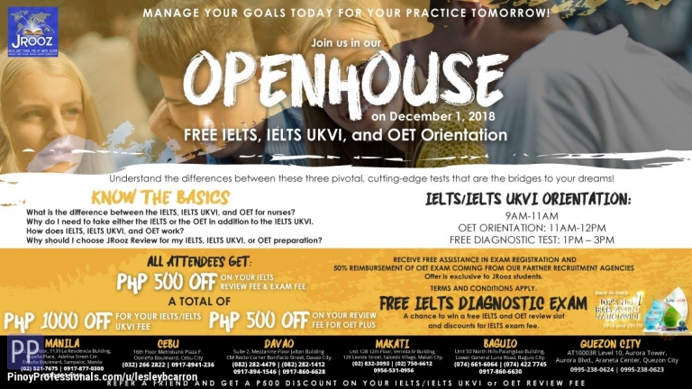 Education - JRooz Open House - Free IELTS, IELTS UKVI and OET Orientation on December 1, 2018