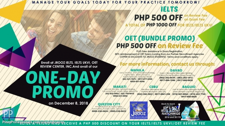 Education - JRooz IELTS, IELTS UKVI & OET One Day Promo December 8, 2018