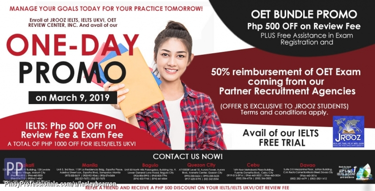 Education - Jrooz IELTS, IELTS UKVI, OET One-day Promo on March 9, 2019