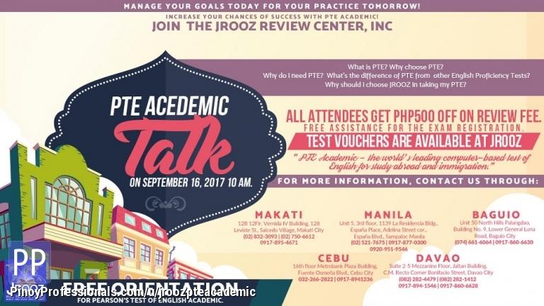 Courses and Seminars - JROOZ PTE Academic Talk – September 16, 2017