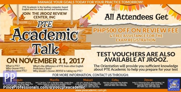 Courses and Seminars - JROOZ PTE Academic Talk – November 11, 2017
