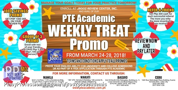 Courses and Seminars - PTE ACADEMIC Weekly Treat Promo – March 24 to 28, 2018