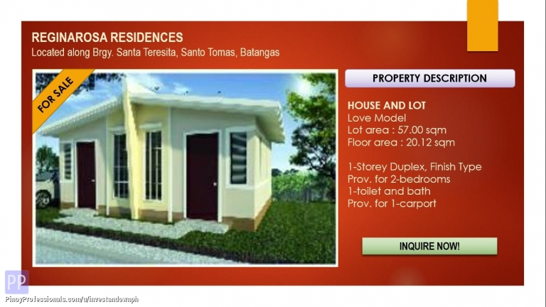 House for Sale - On-Going Construction, Love Duplex at Reginarosa Residences in Santo Tomas, Batangas