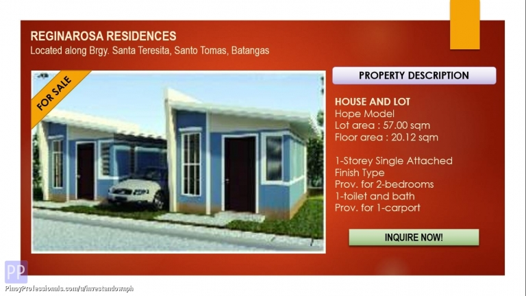 House for Sale - On-Going Construction, Hope Single Attached at Reginarosa Residences in Santo Tomas, Batangas
