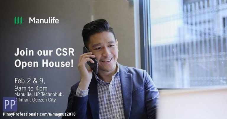 Customer Support - Magnus: Manulife CSR Hiring on February 12 and 13, 2019