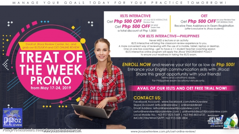 Education - IELTS/UKVI and OET Online Review Treat Of the Week Promo from May 17-24, 2019