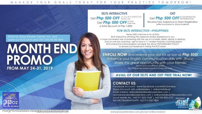 Education - JROOZ IELTS/UKVI & OET Online review Month End Promo from May 24-31, 2019