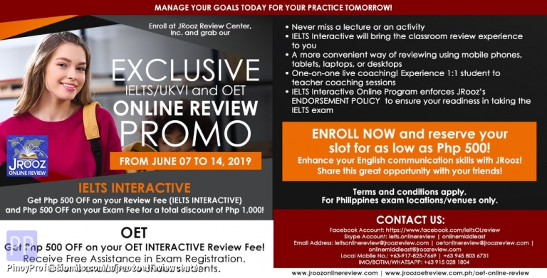 Education - JROOZ Exclusive IELTS/UKVI and OET Online Review Promo June 7 – 14, 2019