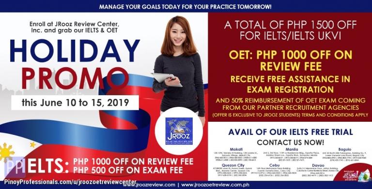 Education - JROOZ IELTS & OET Holiday Promo June 10-15, 2019