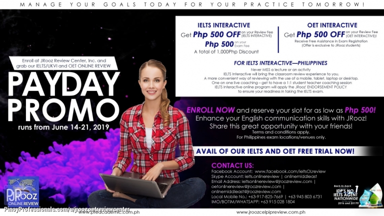 Education - JROOZ IELTS AND OET ONLINE PAYDAY PROMO June 14-21, 2019