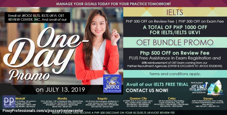 Education - JROOZ IELTS & OET One-Day Promo July 13, 2019