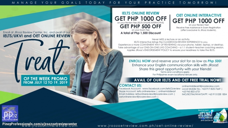 Education - JROOZ IELTS/UKVI and OET Online Review Treat of the Week Promo from July 12-19, 2019