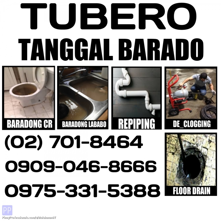 Business and Professional Services - CALOOCAN CITY TUBERO DECLOGGING 09090468666 7018464 09753315388 TANGGAL BARADO