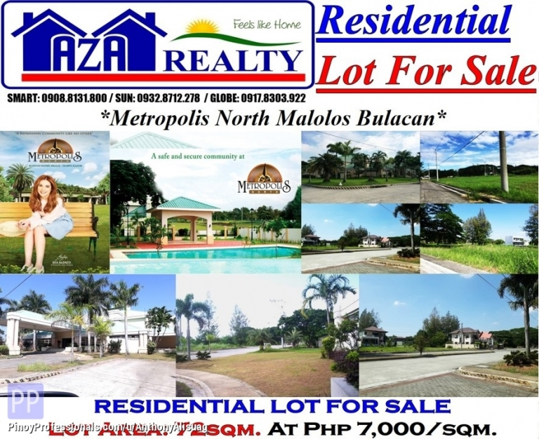 Land for Sale - Php 7,000/sqm. Vacant Lot 72sqm. Metropolis North Malolos Bulacan