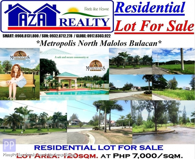 Land for Sale - Residential Lot 120sqm. at Php 7,000/sqm. Metropolis North Malolos Bulacan