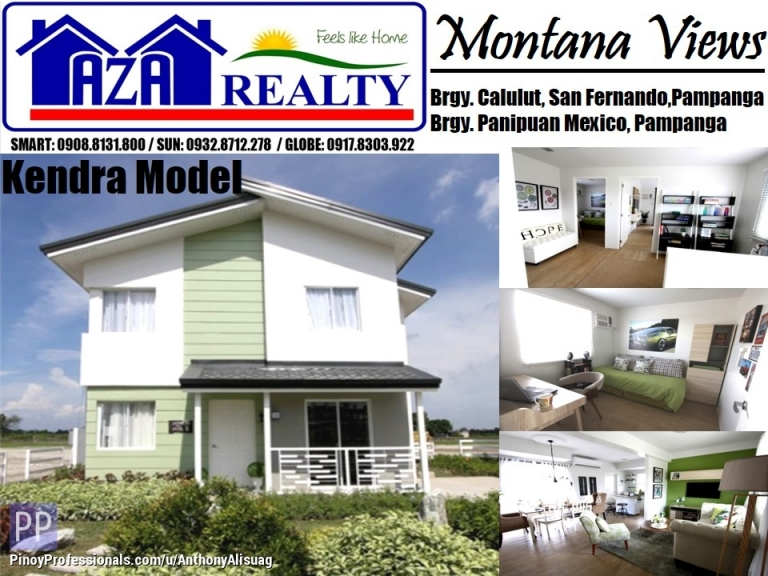 House for Sale - Php 35,110/Month 3BR Kendra Model Montana Views San Fernando Pampanga