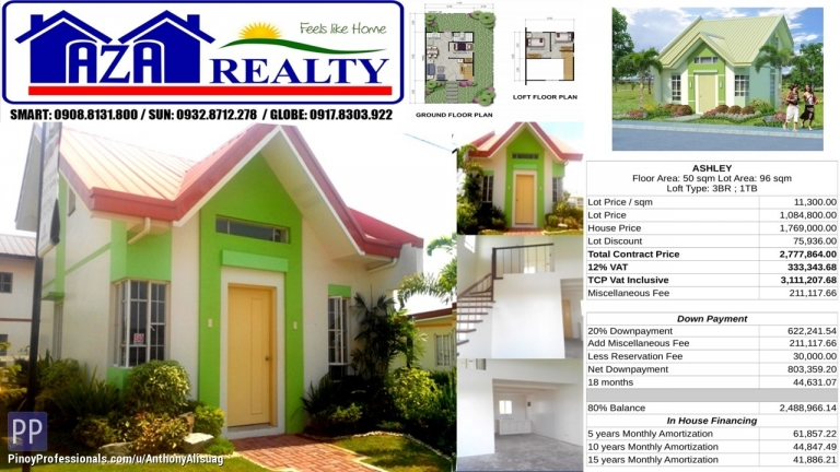 House for Sale - Php 30K Reservation Fee 3BR Single Attached Ashley Heritage Villas San Jose Bulacan