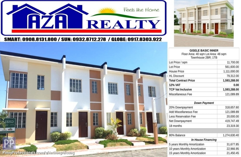 House for Sale - Php 20K Reservation Fee 2BR Townhouse Gisele Heritage Villas San Jose Bulacan