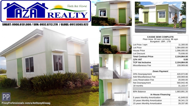 House for Sale - Php 20K Reservation Fee Bungalow Cassie Heritage Villas San Jose Bulacan