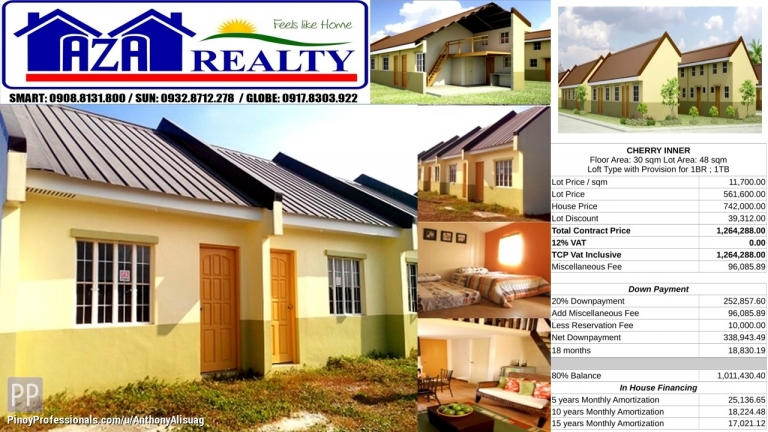 House for Sale - Php 10K Reservation Fee Cherry Lofted Rowhouse Heritage Villas San Jose Bulacan