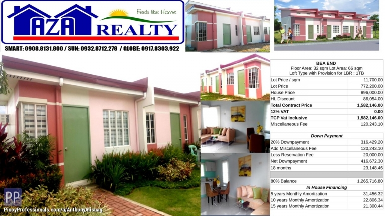 House for Sale - Php 20K Reservation Fee Bea End Lofted Bungalow Heritage Villas San Jose Bulacan