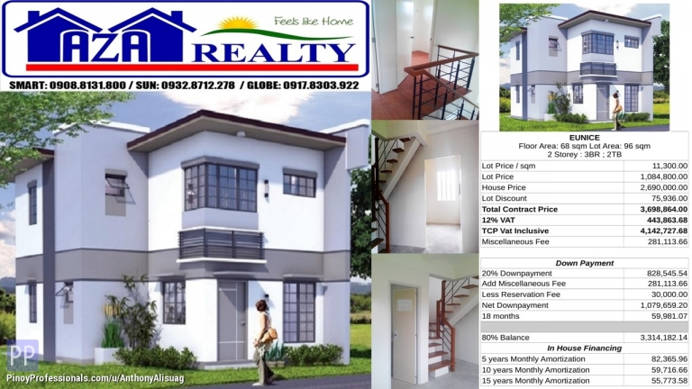 House for Sale - Php 30K Reservation Fee 3BR Single Detached Eunice Heritage Villas San Jose Bulacan