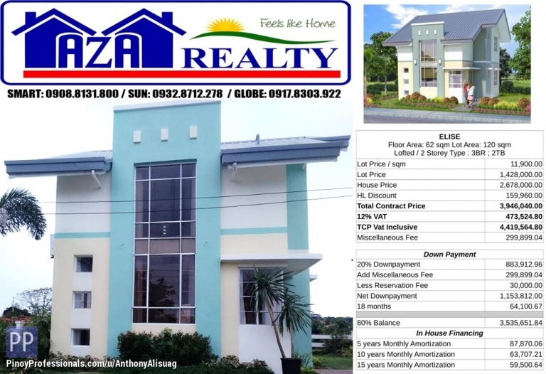 House for Sale - Php 30K Reservation Fee 3BR Single Detached Elise Metrogate San Jose Bulacan