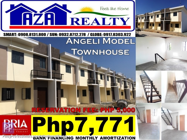 House for Sale - Php 5K Reservation Fee 2BR Townhouse Angeli Bria Homes Santa Maria Bulacan