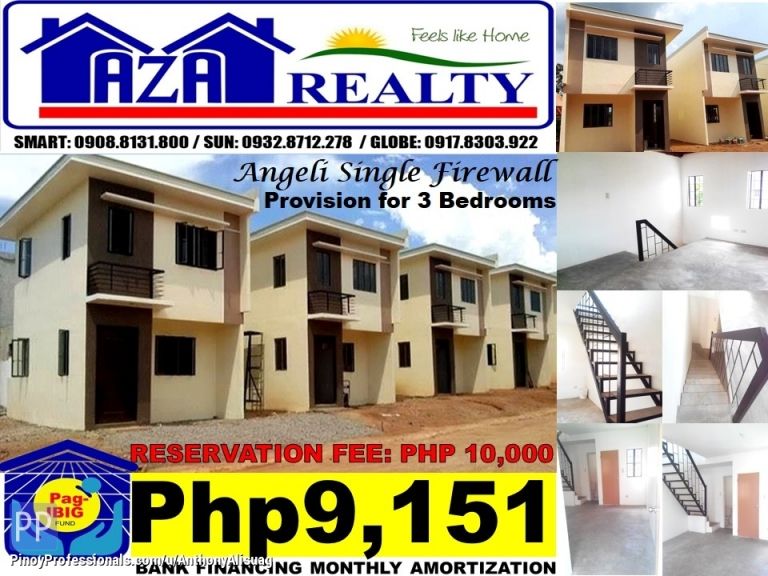House for Sale - Php 10K Reservation Fee 3BR Single Firewall Angeli Bria Homes Santa Maria Bulacan