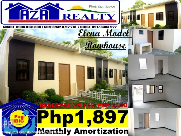 House for Sale - Php 3K Reservation Fee Rowhouse Elena Bria Homes Norzagaray Bulacan