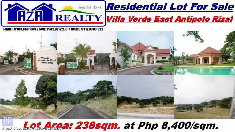 Land for Sale - Php 8,400/sqm. Residential Lot 238sqm. Villa Verde East Antipolo Rizal