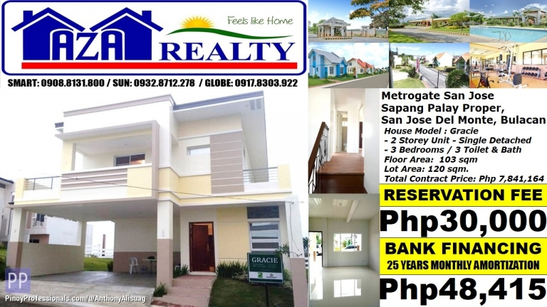 House for Sale - Php 49K/Month Gracie 3BR Single Detached Metrogate San Jose Del Monte Bulacan