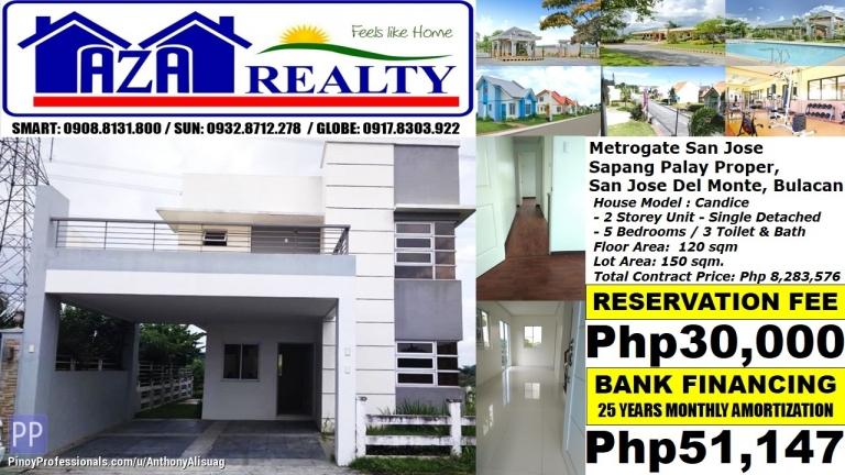 House for Sale - Php 51K/Month Candice 5BR Single Detached Metrogate San Jose Del Monte Bulacan
