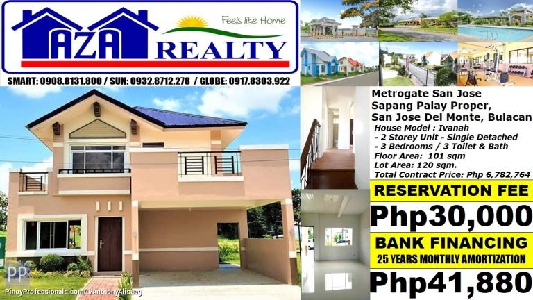House for Sale - Php 42K/Month Ivanah 3BR Single Detached Metrogate San Jose Del Monte Bulacan