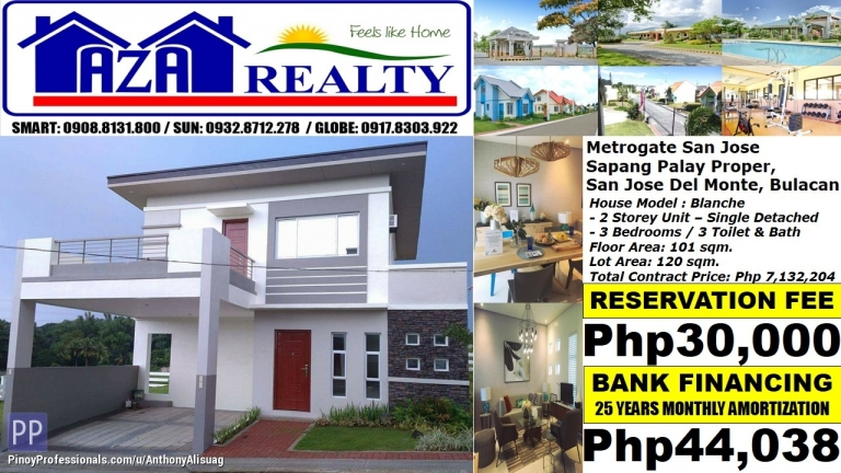 House for Sale - Php 44K/Month Blanche 3BR Single Detached Metrogate San Jose San Del Monte Bulacan